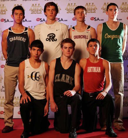 Portrait of Boerne Champion's Andrew Tankersley (back row from left), Reagan's Zach Martin, Churchill's Colton Stoker, Cole's Stefan Arnold, (front row from left), Lytle's Cesar Gonzalez, Clark's Austin Wells, Antonian's Anthony Gallardo. Thursday Dec. 13, 2012. Photo: Edward A. Ornelas, Express-News / © 2012 San Antonio Express-News