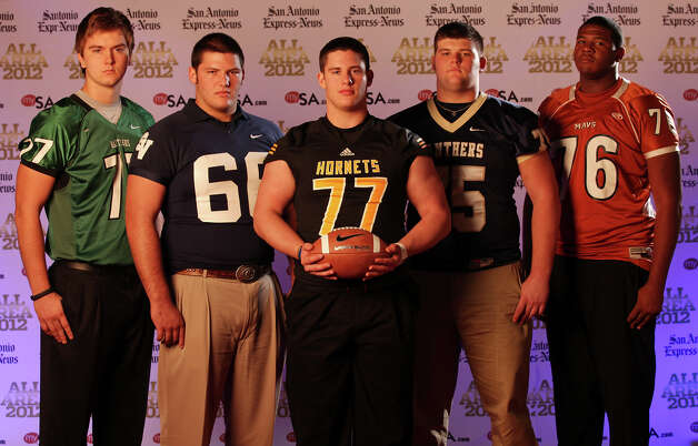 Portrait of  Reagan's Sterling Korona, (from left) Smithson Valley's Garrett Gunter, East Central's Andrew Tercek, O'Connor's Baylen Brown and Madison's George Roberts Sunday Dec. 16, 2012. Photo: Edward A. Ornelas, Express-News / © 2012 San Antonio Express-News