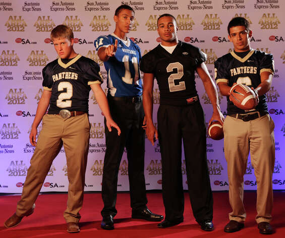 Portrait of O'Connor's Dillon Westall (from left) Jay's Joshua Reynolds, Steele's Jordan Sterns and O'Connor's Steven Cantu Sunday Dec. 16, 2012. Photo: Edward A. Ornelas, Express-News / © 2012 San Antonio Express-News
