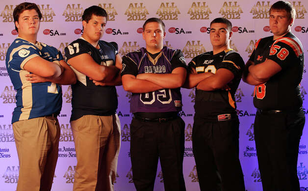 Portrait of Alamo Heights' Daniel McCarty, (from left) Boerne Champion's Kyle McKinney, Navarro's Brian Bormann, Brennan's Daniel Vidaurri and Medina Valley's Garrett Neuman Sunday Dec. 16, 2012. Photo: Edward A. Ornelas, Express-News / © 2012 San Antonio Express-News
