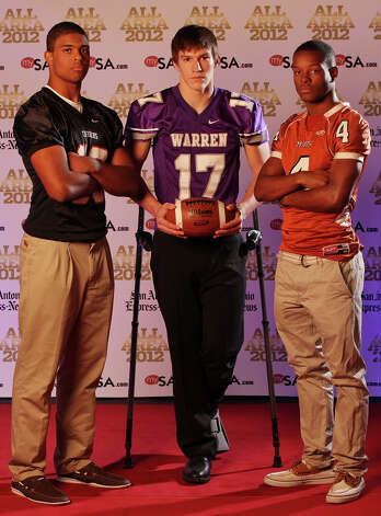 Portrait of Churchill's Dimitri Flowers, (from left) Warren's Aron Taylor and Madison's Byron Daniels Sunday Dec. 16, 2012. Photo: Edward A. Ornelas, Express-News / © 2012 San Antonio Express-News