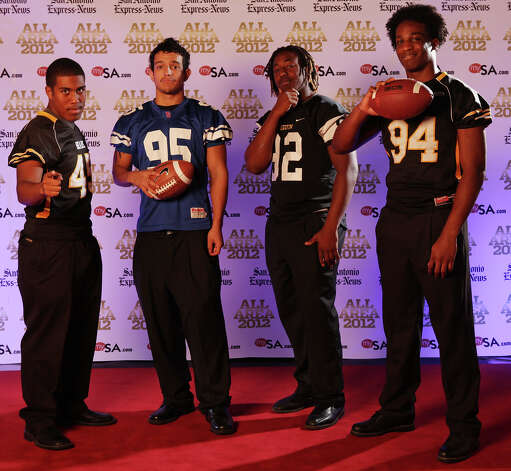 Portrait of Brennan's Evan Ferguson, (from left) Jefferson's Troy Mendez, Seguin's P.J. Hall and Brennan's Derick Roberson Sunday Dec. 16, 2012. Photo: Edward A. Ornelas, Express-News / © 2012 San Antonio Express-News