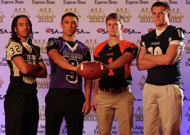 Portrait of Edison's Seth Henry, (from left) Navarro's Jay Leal, Karnes City's Philip Vaughan and Boerne Champion's Jake Margozewitz on  Sunday Dec. 16, 2012. Photo: Edward A. Ornelas, Express-News / © 2012 San Antonio Express-News