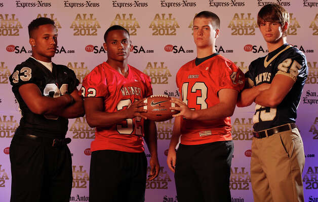 Portrait of Steele's Jalen Maddox, (from left) Wagner's Byron Mills, Brandeis' Cameron Rogers and O'Connor's Luke Farmer Sunday Dec. 16, 2012. Photo: Edward A. Ornelas, Express-News / © 2012 San Antonio Express-News