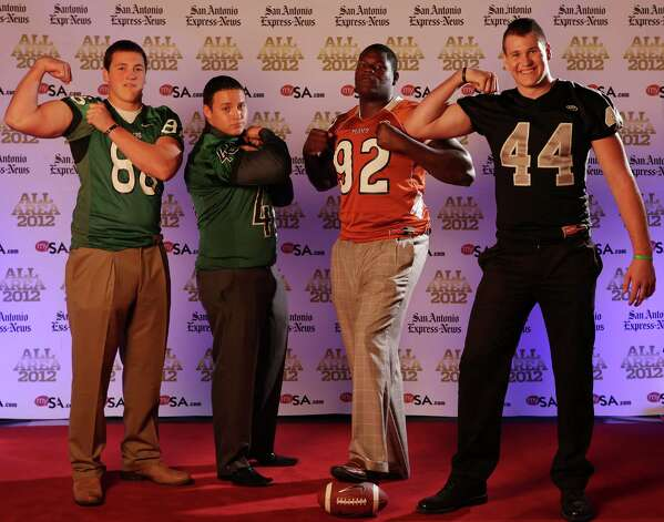 Portrait of Reagan's Tanner Schorp, (from left) Southwest's Cesar Serrano, Madison's Vincent Taylor and Steele's Josh Malin Sunday Dec. 16, 2012. Photo: Edward A. Ornelas, Express-News / © 2012 San Antonio Express-News