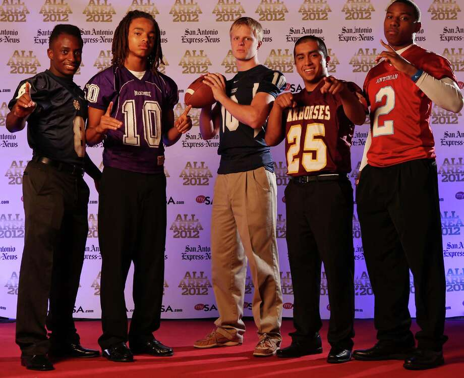 Portrait of Holy Cross' Kyron Davis (from left)  Brackenridge's Ramon Richards, Boerne Champion's Kyle Poeske, Devine's Jordan Fraga Antonian's Sterling Holmes  Sunday Dec. 16, 2012. Photo: Edward A. Ornelas, Express-News / © 2012 San Antonio Express-News