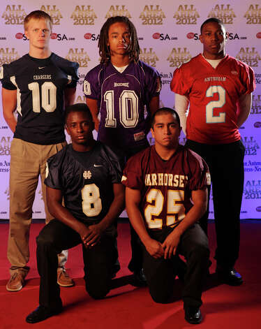 Portrait of Boerne Champion's Kyle Poeske, (top row from left) Brackenridge's Ramon Richards, Antonian's Sterling Holmes,  Holy Cross' Kyron Davis (bottom row from left) and Devine's Jordan Fraga Sunday Dec. 16, 2012. Photo: Edward A. Ornelas, Express-News / © 2012 San Antonio Express-News