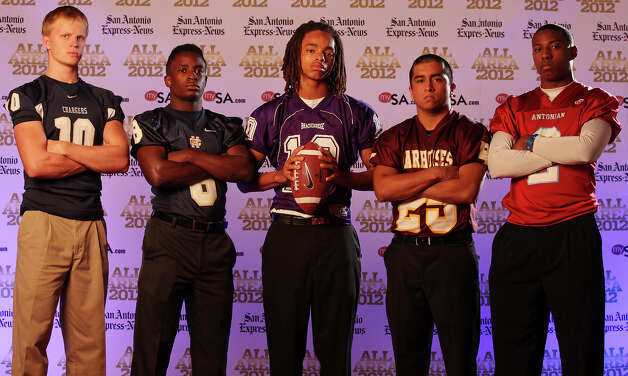 Portrait of Boerne Champion's Kyle Poeske, (from left), Holy Cross' Kyron Davis Brackenridge's Ramon Richards, Devine's Jordan Fraga Antonian's Sterling Holmes  Sunday Dec. 16, 2012. Photo: Edward A. Ornelas, Express-News / © 2012 San Antonio Express-News