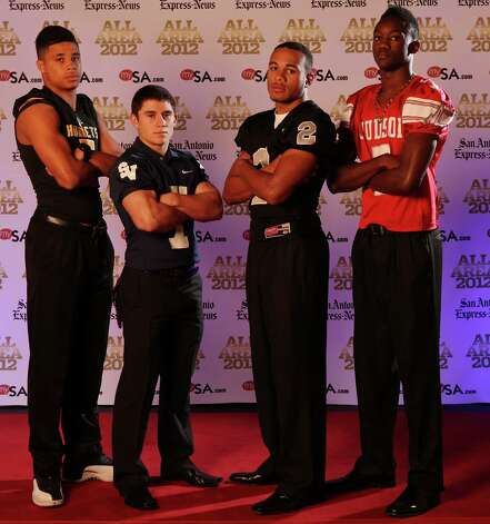Portrait of East Central's Austin Jupe, (from left) Smithson Valley's Diego Hodges, Steele's Jordan Sterns and Judson's Tre Flowers Sunday Dec. 16, 2012. Photo: Edward A. Ornelas, Express-News / © 2012 San Antonio Express-News