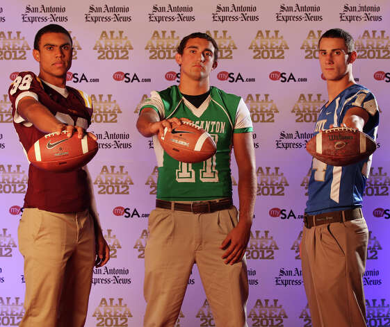 Portrait of San Antonio Christian's Corey Robinson, (from left) Pleasanton's Jacob Jandt and Kerrville Tivy's Tyler Ahrens Sunday Dec. 16, 2012. Photo: Edward A. Ornelas, Express-News / © 2012 San Antonio Express-News