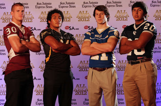 Portrait of Floresville's John Handowski, (from left) Brennan's Grant Watanabe, Alamo Heights' Nick Uretsky and Central Catholic's Leo Sanchez Sunday Dec. 16, 2012. Photo: Edward A. Ornelas, Express-News / © 2012 San Antonio Express-News