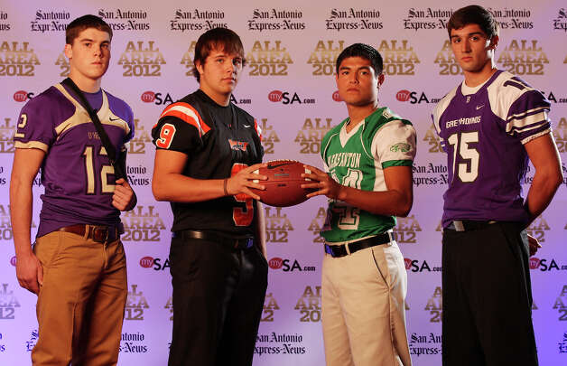Portrait of D'Hanis' Chance Barlow, (from left) Medina Valley's Zach Sinor, Pleasanton's Mike Sorola and Boerne's Taylor Knopf Sunday Dec. 16, 2012. Photo: Edward A. Ornelas, Express-News / © 2012 San Antonio Express-News