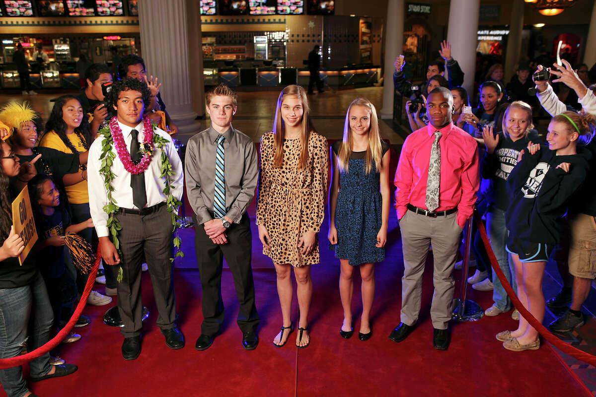 Portrait of Brennan's Grant Watanabe, (from left) Clark's Austin Wells, New Braunfels' Jessica Waldrip, Smithson Valley's Devin Clark, and Madison's Marquis Warford Tuesday Dec. 18, 2012 at the Santikos Palladium IMAX.