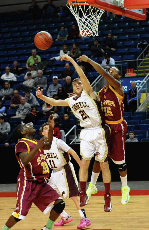Northeast Christmas Classic basketball tournament action between St. Joseph and Monsignor Farrell at the Webster Bank Arena in Bridgeport, Conn. on Thursday December 27, 2012. Photo: Christian Abraham / Connecticut Post