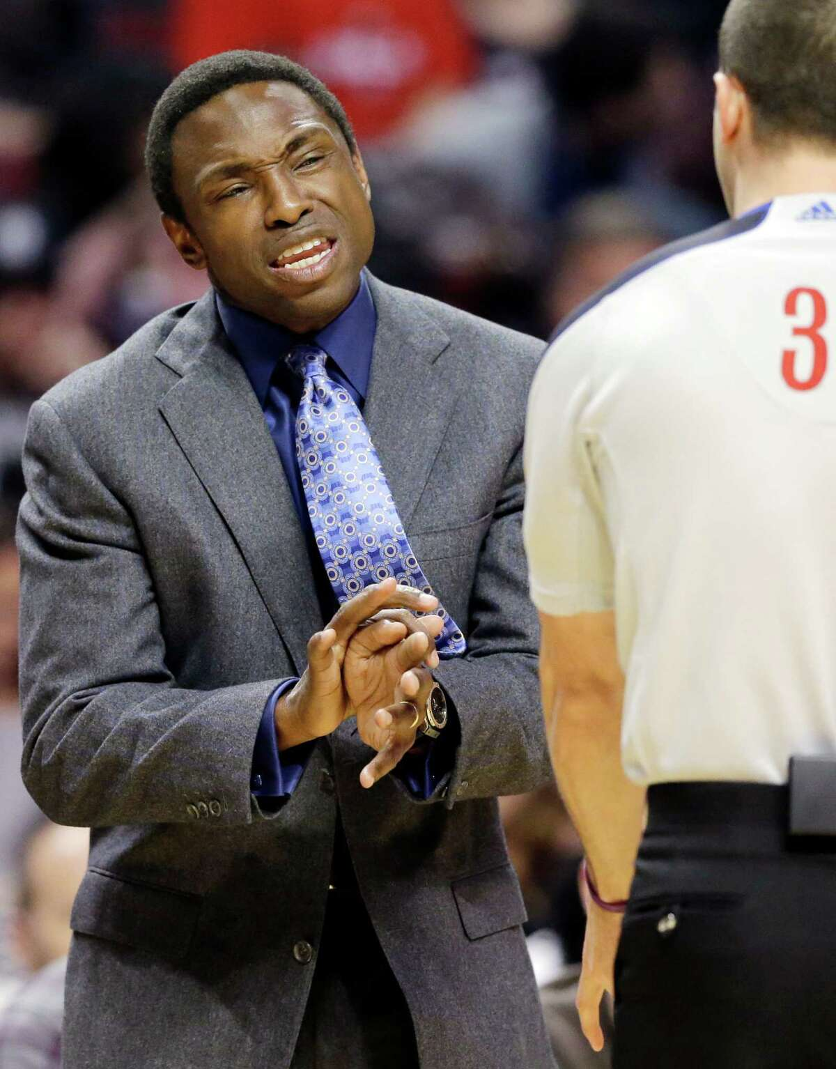 FILE - In this Dec. 15, 2012, file photo, Brooklyn Nets head coach Avery Johnson, left, reacts to a call during the first half of an NBA basketball game against the Chicago Bulls in Chicago. Johnson was fired on Thursday, Dec. 27, 2012, general manager Billy King announced. (AP Photo/Nam Y. Huh, File)