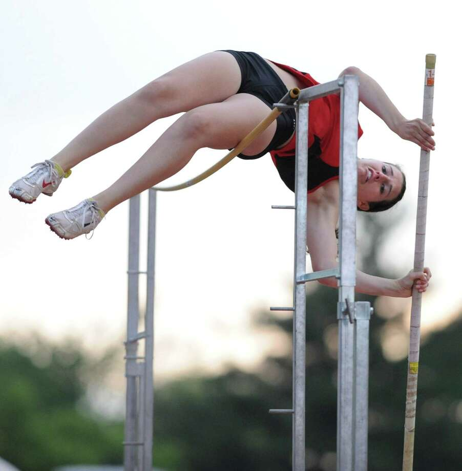 Guilderland senior Alicia Switser attemps a 10' pole vault during the Suburban Council girls track meet Wednesday, May 16, 2012 Colonie, N.Y.  (Lori Van Buren / Times Union) Photo: Lori Van Buren, Albany Times Union / 00017659A