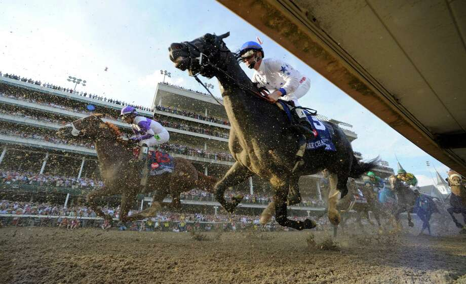 I'll Have Another with jockey Mario Gutierrez up, left out  dueled Bodemeister with jockey Mike Smith to the win in the 138th running of the Kentucky Derby in Louisville, KY May 5, 2012 Photo: SKIP DICKSTEIN, TIMES UNION