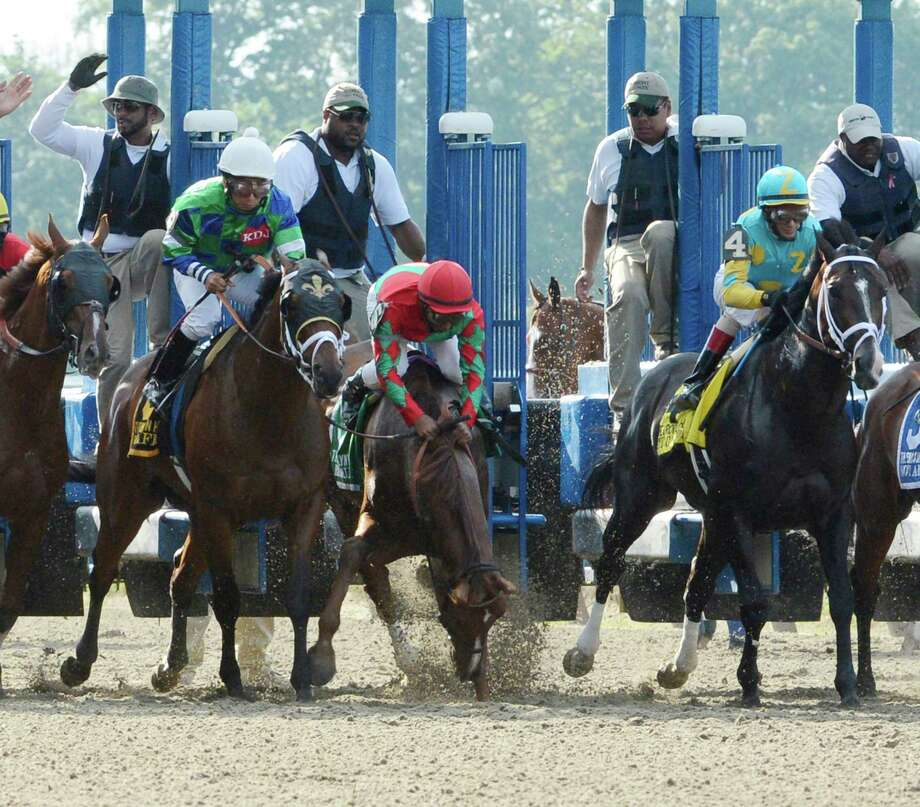 Birdrun almost unseats his jockey Rajiv Marajh at the start of the 124th running of The Brooklyn Handicap at Belmont Park in Elmont, N.Y. June 8, 2012.  Tomorrow is the 144th running of The Belmont Stakes. Photo: SKIP DICKSTEIN, TIMES UNION