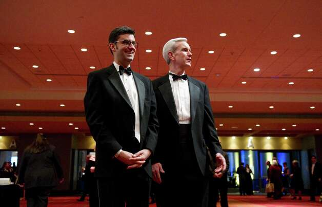 Andrew J. McDonald, right, a former state senator from Stamford  has been nominated to the Connecticut Supreme Court by Gov. Dannel P. Malloy If confirmed, the 46-year-old McDonald would would be one of the few gays nationally to be named to their state high courts. He is married to Charles Gray, pictured left, of Stamford. Photo: Keelin Daly, ST / Stamford Advocate