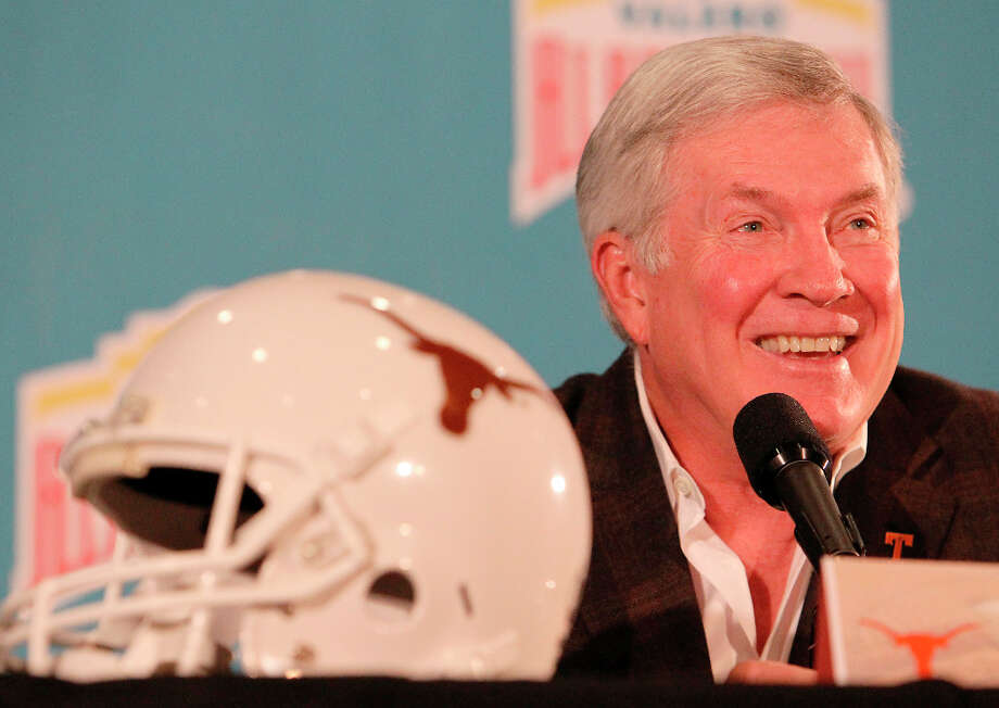 Texas head coach Mack Brown attends at a press conference on the eve of the Valero AlamoBowl game at Marriott Rivercenter on Friday, Dec. 28, 2012. Two University of Texas players were accused of sexual assault and had been suspended by coach Brown for violating team rules. He did not answer any questions regarding the allegations or the two players' identities. Photo: Kin Man Hui, San Antonio Express-News / © 2012 San Antonio Express-News