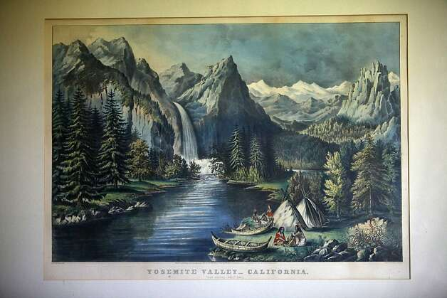 Berkleyside editor Frances Dinkelspiel shows her  lithograph of Yosemite Valley by Currier and Ives at home in Berkeley, Calif., on Wednesday, August  8, 2012. Photo: Liz Hafalia, The Chronicle