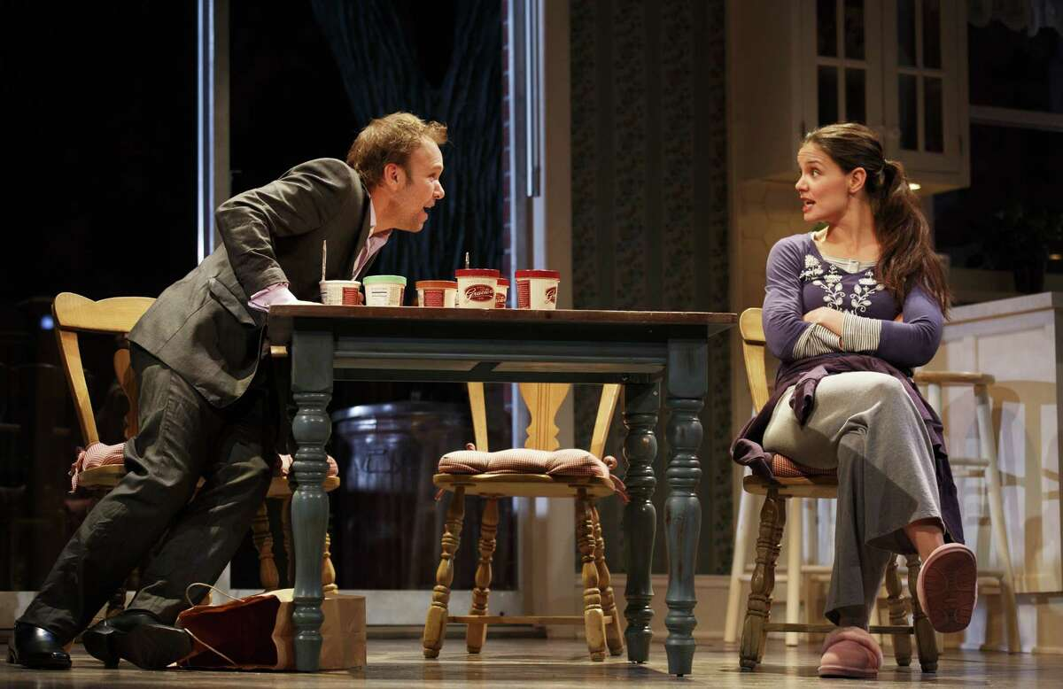 FILE- This undated file photo provided by Boneau/Bryan-Brown shows Nobert Leo Butz as Jack, left, and Katie Holmes as Lorna, in a scene from