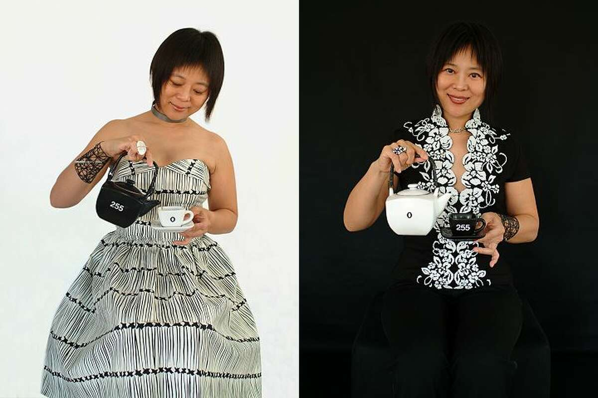 Artist Weihong invites guests for tea at her