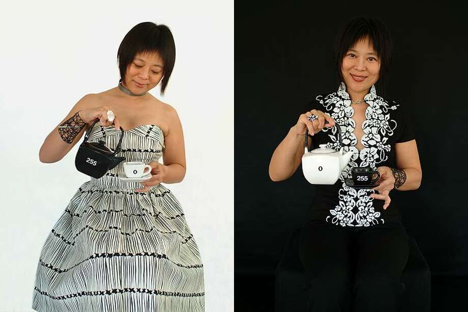 """Artist Weihong invites guests for tea at her """"Teateria"""" installation. Photo: Weihong"""