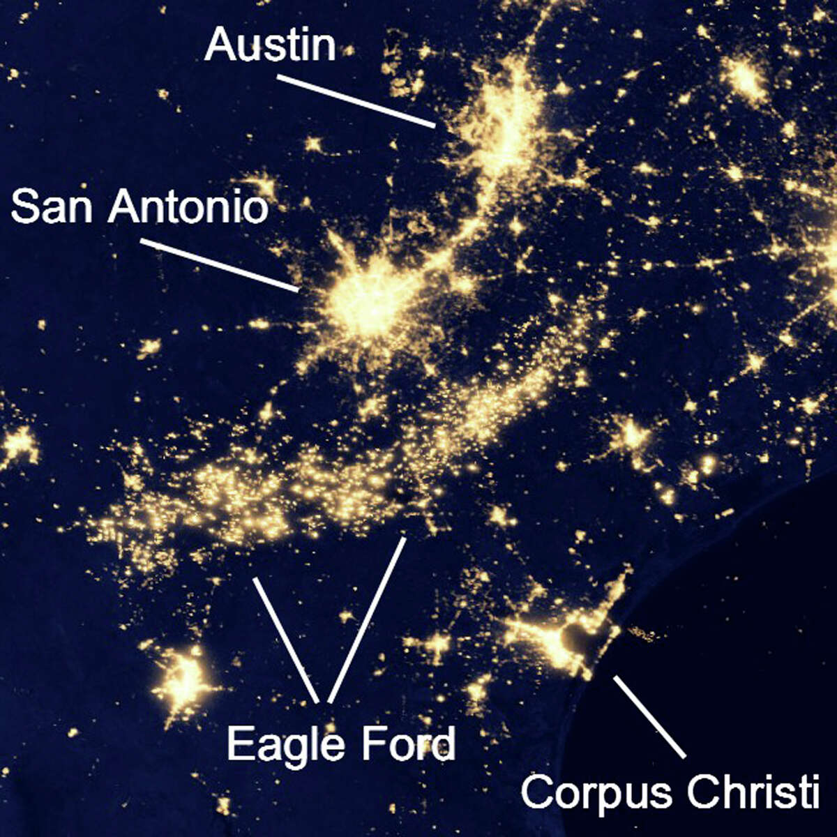 This satellite night image of South Texas clearly shows electrical lights and gas flares in the Eagle Ford Shale region south of San Antonio. This giant arc of lights was not visible on a NASA poster from 1994-95.