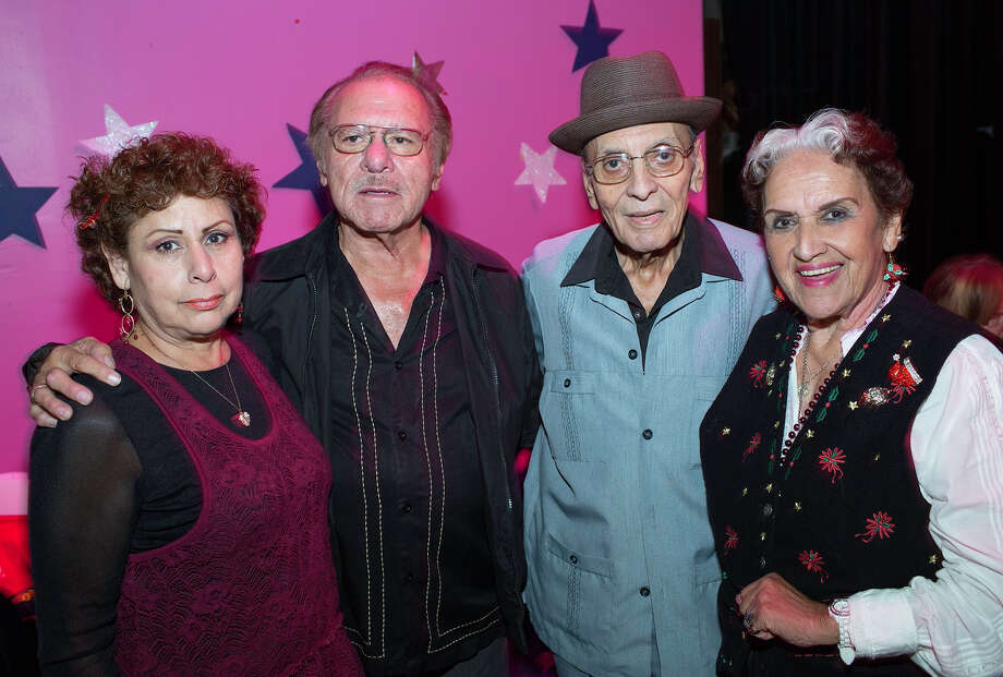 """Guest Yolanda Ortega (from left) and conjunto leader Henry Zimmerle get  together with conjunto leader Salvador """"El Pavo"""" Garcia and singer Rita  Vidaurri during the Save Lermas Baile fundraiser to support the  restoration of Lermas Nite Club, at Esperanza Peace and Justice Center. Photo: J. Michael Shortr, For The Express-News / THE SAN ANTONIO EXPRESS-NEWS"""