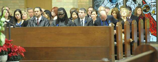 "KFDM employees sat together on one side of the sanctuary.  A Memorial Service was held for KFDM veteran journalist and anchorman William ""Bill"" Leger Jr. Friday December 28, 2012, at Saint Jude Thaddeus Catholic Church in Beaumont. He was laid to rest earlier in the week in his hometown of Kinder Louisiana.  Dave Ryan/The Enterprise"