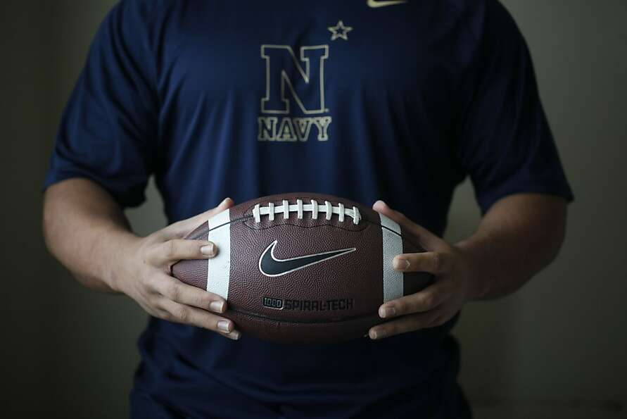 Michael Tuimavave, 21, a linebacker for Navy who attended Riordan High in S.F., is at his mother's h