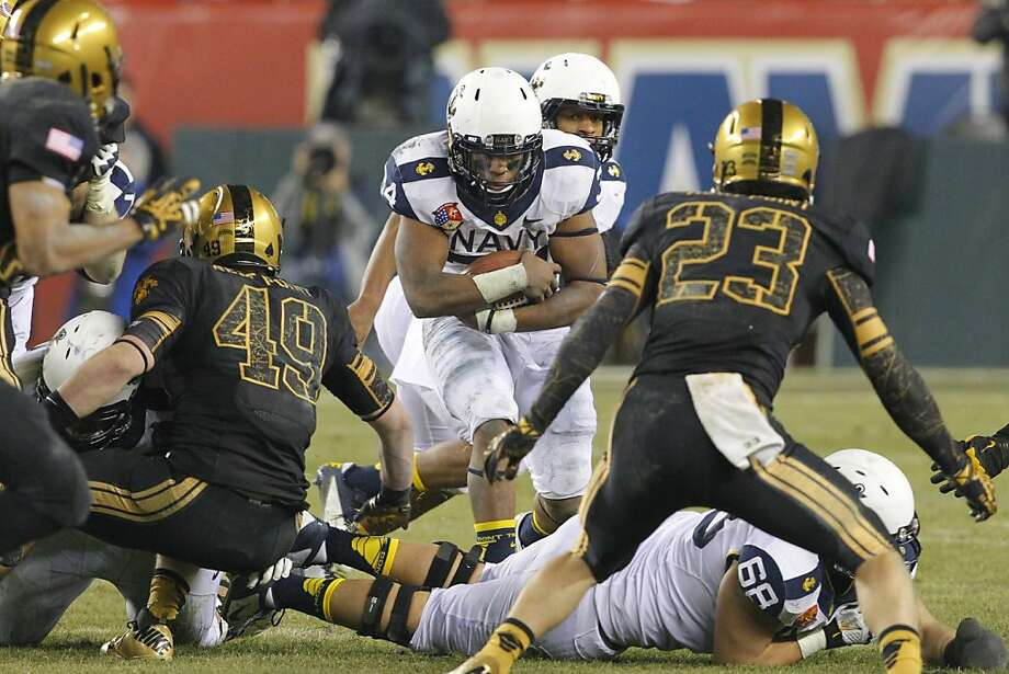 Running back Noah Copeland has helped Navy's wishbone offense average the sixth most rushing yards per game in the FBS. Photo: Hunter Martin, Getty Images