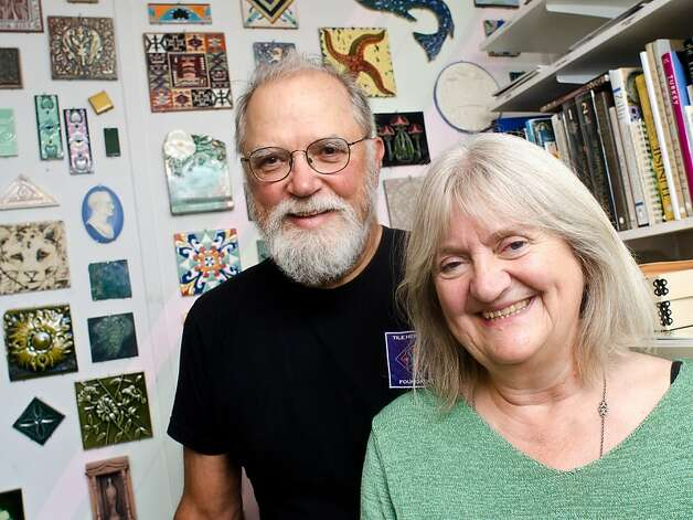 Joseph Taylor (left) and Sheila Menzies, here at the archive office in Healdsburg, founded the Tile Heritage Foundation in 1987. Photo: Alvin Jornada, Special To The Chronicle