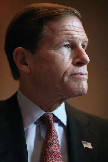Sen. Richard Blumenthal (D-CT) participates in a news conference about preserving Medicaid funding d