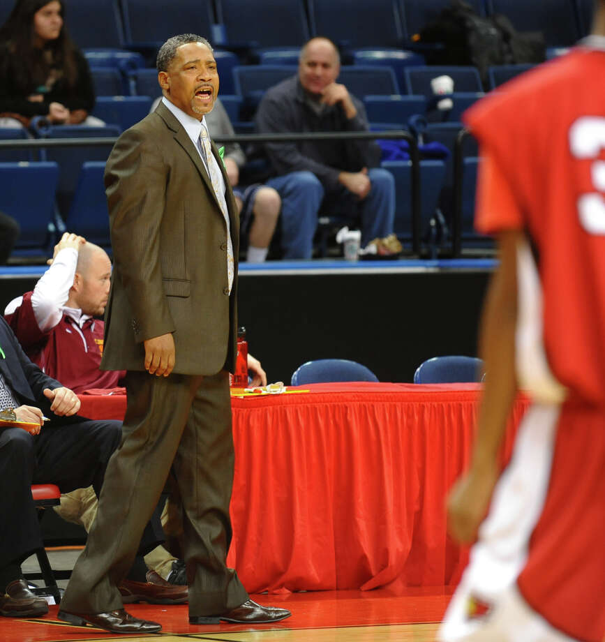St. joseph Head Coach Chris Watts during Northeast Christmas Classic basketball tournament action against LaSalle Academy at Webster Bank Arena in Bridgeport, Conn. on Frday December 28, 2012. Photo: Christian Abraham / Connecticut Post