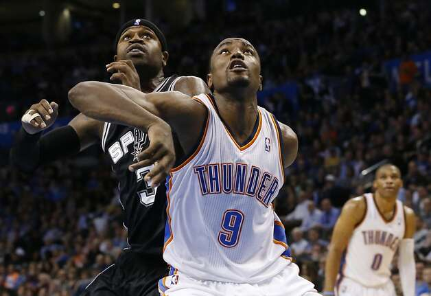 Serge Ibaka (9) fights for position Dec. 17 with Stephen Jackson, who had sent a nasty tweet. Photo: Sue Ogrocki, Associated Press