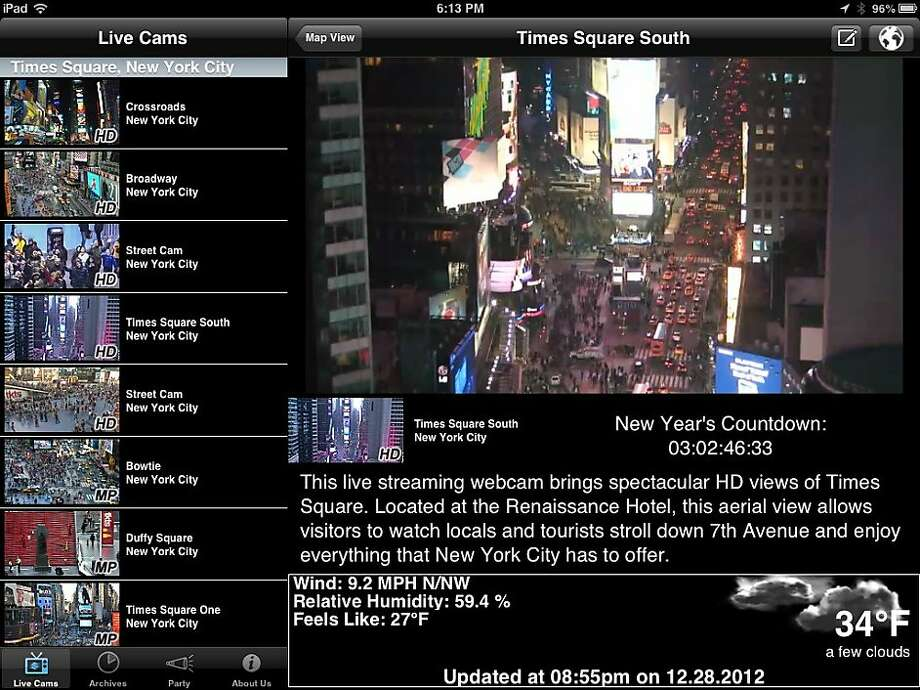 Earthcam s New Year s Live 2013 iPad app Photo: Earthcam