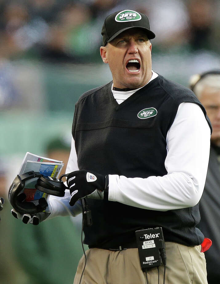 New York Jets head coach Rex Ryan reacts during the second half of an NFL football game against the San Diego Chargers, Sunday, Dec. 23, 2012, in East Rutherford, N.J. (AP Photo/Kathy Willens) Photo: Kathy Willens