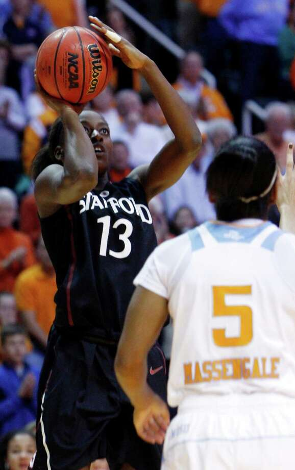 Stanford forward Chiney Ogwumike (13) shoots over Tennessee guard Ariel Massengale (5) in the first half of an NCAA college basketball game on Saturday, Dec. 22, 2012, in Knoxville, Tenn. (AP Photo/Wade Payne) Photo: Wade Payne