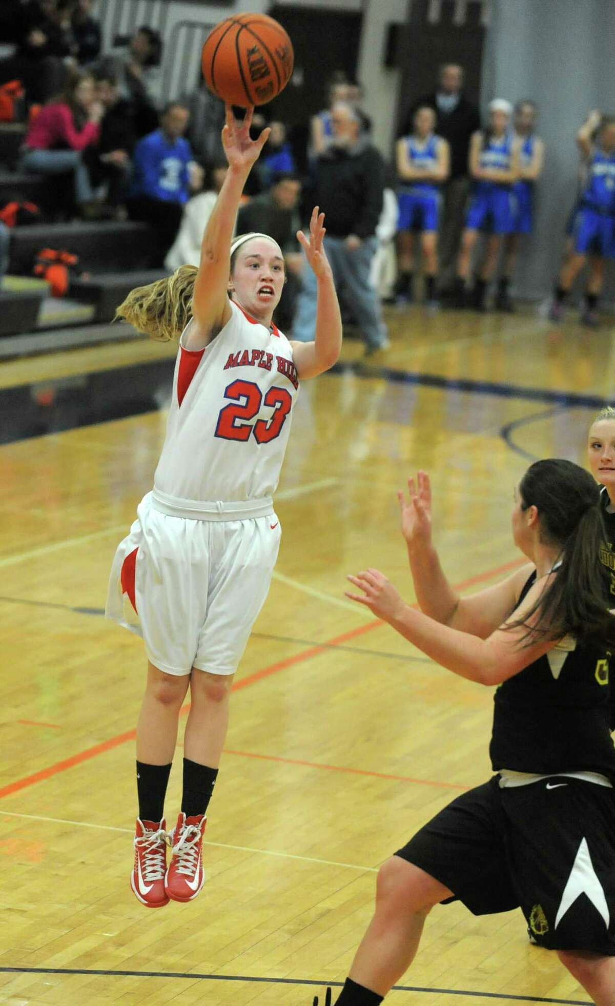 Maple Hills' Lindsay Mannion goes up for three points during a basketball game against Berne Knox at Mohonasen High School on Friday Dec. 28, 2012 in Albany, N.Y. (Lori Van Buren / Times Union)