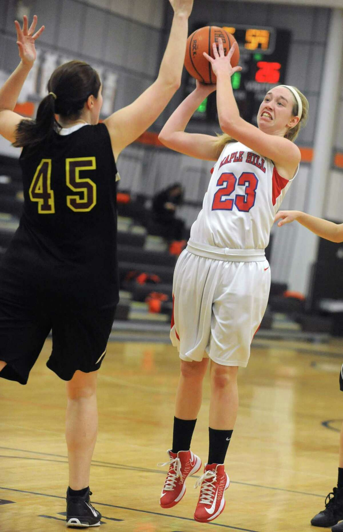 Maple Hills' Lindsay Mannion goes up for a jump shot during a basketball game against Berne Knox at Mohonasen High School on Friday Dec. 28, 2012 in Albany, N.Y. (Lori Van Buren / Times Union)