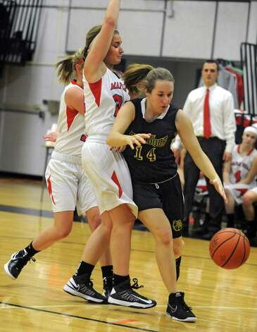 Berne Knox's Sarah Abbott drives to the hoop during a basketball game against Maple Hills at Mohonasen High School on Friday Dec. 28, 2012 in Albany, N.Y. (Lori Van Buren / Times Union) Photo: Lori Van Buren