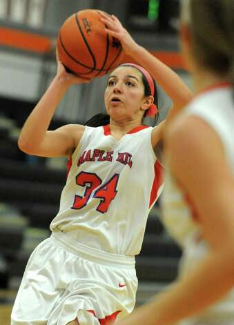Maple Hills' Sabrina Waolfe takes a shot during a basketball game against Berne Knox at Mohonasen High School on Friday Dec. 28, 2012 in Albany, N.Y. (Lori Van Buren / Times Union) Photo: Lori Van Buren
