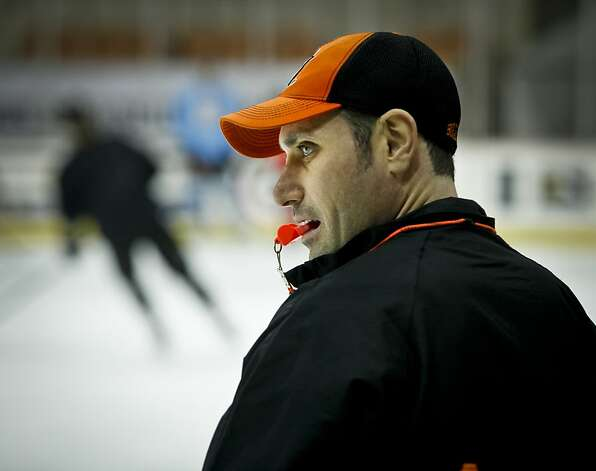 Curcio conducts a Dec. 20 practice at the Bulls' home ice, the Cow Palace, which took millions to renovate. Photo: Russell Yip, The Chronicle