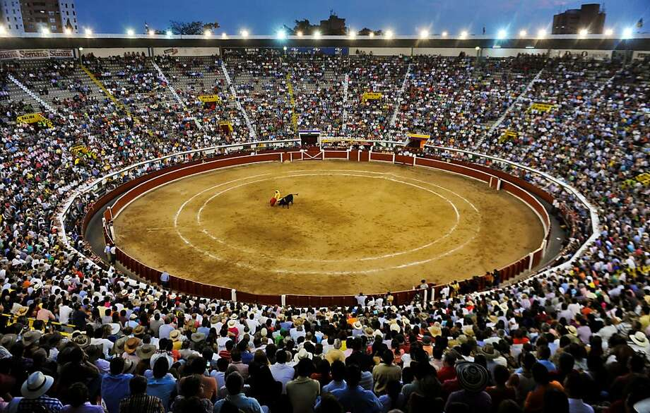 Spanish bullfighter Ivan Fandino performs a cape pass during a bullfight at the Canaveralejo bullring in Cali, department of Valle del Cauca, Colombia on December 27, 2012. Photo: Luis Robayo, AFP/Getty Images