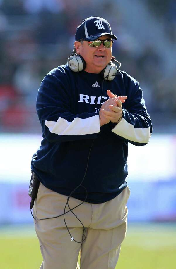 Rice head coach David Bailiff celebrates a touchdown during the first half of the Bell Helicopter Armed Services Bowl at Amon G. Carter Stadium, Saturday, Dec. 29, 2012, in Ft. Worth. Photo: Karen Warren, Houston Chronicle / © 2012 Houston Chronicle