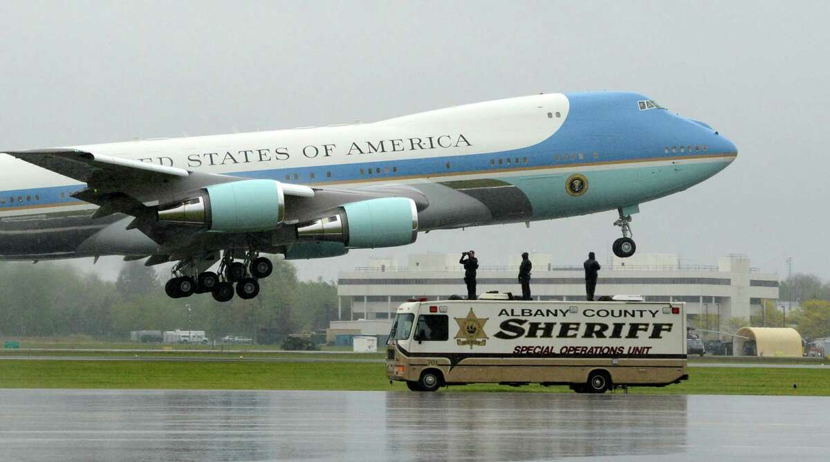 Air Force One with President Barack Obama climbs out of Albany International Airport in Colonie, N.Y. May 8, 2012 after his address at the Nanoscale Science School at the University at Albany. (Skip Dickstein / Times Union)