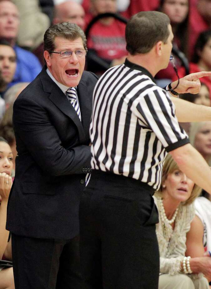 Connecticut head coach Geno Auriemma argues with an official after receiving technical foul during the second half against Stanford in a NCAA college basketball game in Stanford, Calif., Saturday, Dec. 29, 2012. Connecticut won 61-35. (AP Photo/Tony Avelar) Photo: Tony Avelar, Associated Press / FR155217 AP