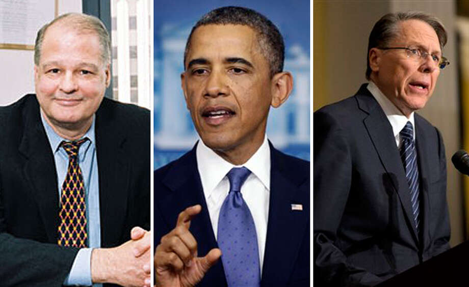 From left, Arizona Attorney General Tom Horne, President Barack Obama,  and National Rifle Association CEO Wayne LaPierre. Horne and LaPierre  want more armed guards in schools - an idea Obama has not supported.  (AP)